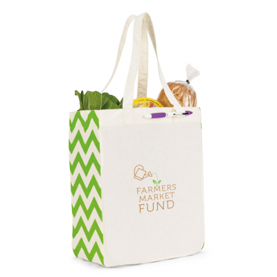 Chelsea Cotton Market Tote Natural-Green