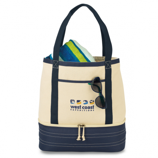 Coastal Cotton Insulated Tote Blue-Natural