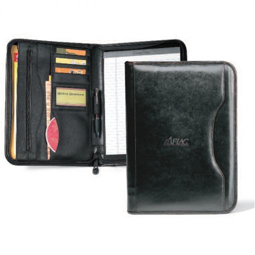 Deluxe Executive Vintage Leather Padfolio - Black
