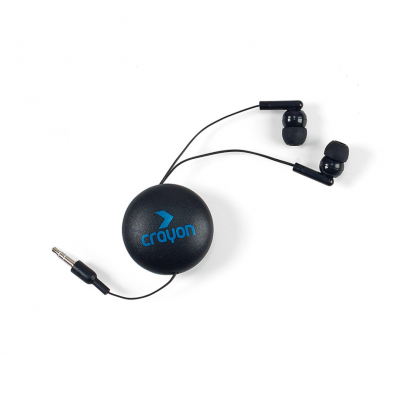 Retractable Wired Earbuds with Magnet Black