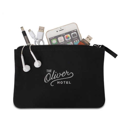 Avery Cotton Zippered Pouch - Black