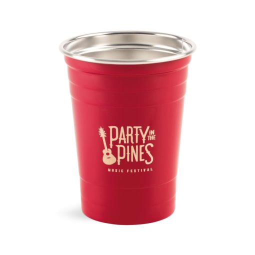 Party Time Stainless Tumbler - 17 Oz. Red