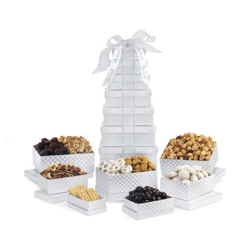 Deluxe Shimmering Sweet & Snacks Gourmet Tower Silver