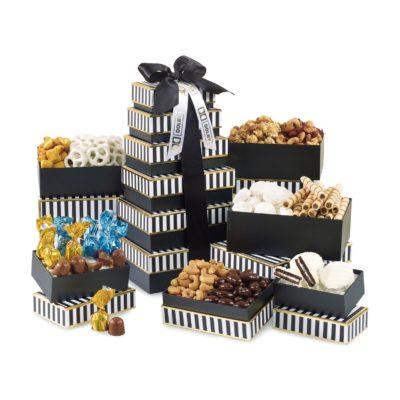 Elegant Gourmet Sweet & Savory Tower Black-White