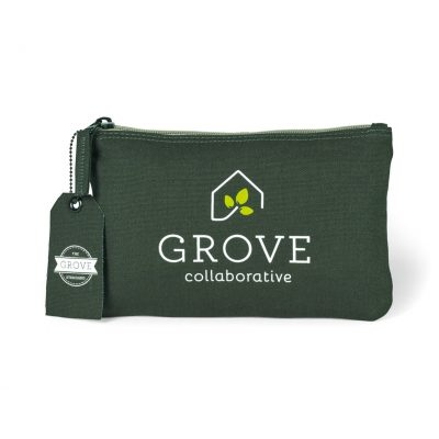 Avery Cotton Zippered Pouch Green