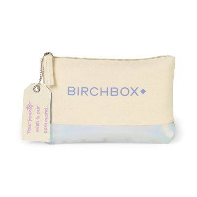 Avery Cotton Zippered Pouch Natural-White