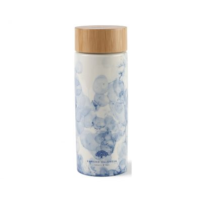 Celeste Bamboo Ceramic Bottle - 10 Oz. Blue-White