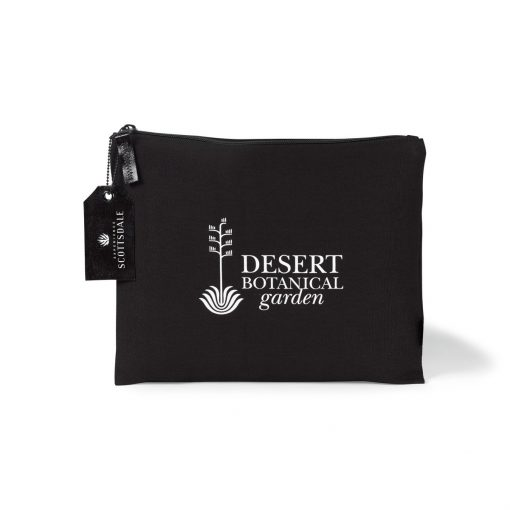 Avery Large Cotton Zippered Pouch - Black