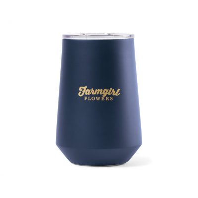 Aviana™ Clover Double Wall Stainless Wine Tumbler - 12 Oz. Navy-Blue