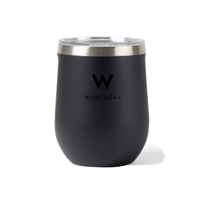 Corkcicle® Canteen & Stemless Wine Cup Gift Set Black