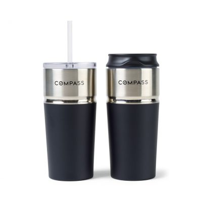 Emery 2-in-1 Double Wall Stainless Tumbler - 16 Oz. Black
