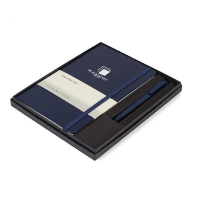 Moleskine® Large Notebook and GO Pen Gift Set - Navy Blue