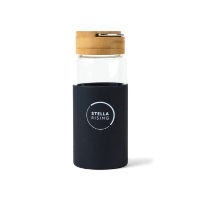 Tahiti Bamboo Glass Bottle - 18 Oz. - Black