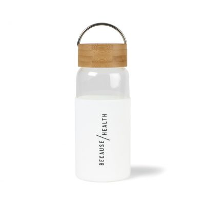 Tahiti Bamboo Glass Bottle - 18 Oz. White