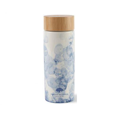 10 Oz. Blue Watermark/White Celeste Bamboo Ceramic Bottle