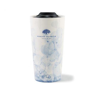 13.5 Oz. Blue Watermark/White Celeste Ceramic Tumbler