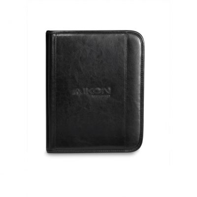 Black Deluxe Leather Wired-E Padfolio