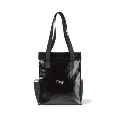 Black Skyler Coated Cotton Shopper Bag
