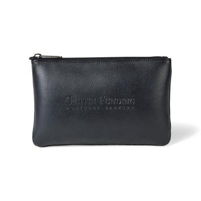 Black Travis & Wells® Leather Zippered Pouch