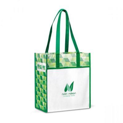 Kelly Green Horizons Laminated Shopper Bag