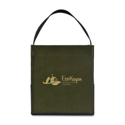 Loden Green Kali Coated Cotton Mini Tote Bag