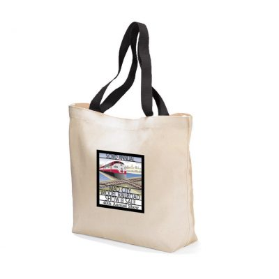 Natural/Black Colored Handle Tote Bag