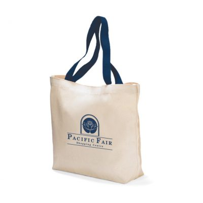 Natural/Navy Blue Colored Handle Tote Bag