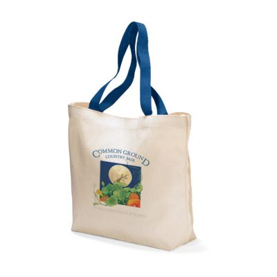 Natural/Royal Blue Colored Handle Tote Bag