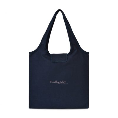 Navy Blue Willow Cotton Packable Tote Bag