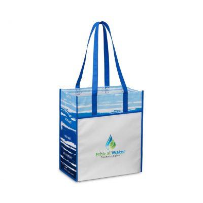 Royal Blue/White Horizons Laminated Shopper