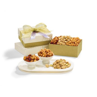 Sparkling White/Gold Mixed Nuts Gift Box