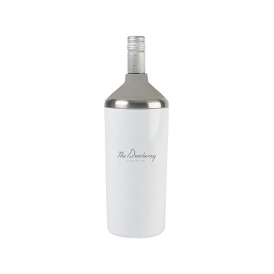 White Opaque Gloss Aviana™ Magnolia Double Wall Stainless Wine Bottle Cooler