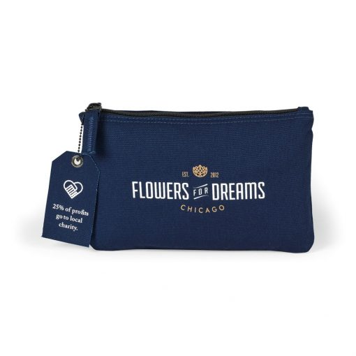 Avery Cotton Zippered Pouch - Navy Blue