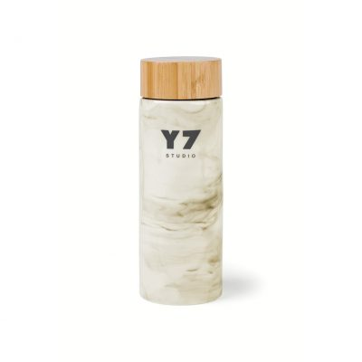 Celeste Bamboo Ceramic Bottle - 10 Oz. - Grey Marble