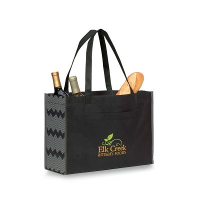 Chevron Non-Woven Shopper - Black-Seattle Grey