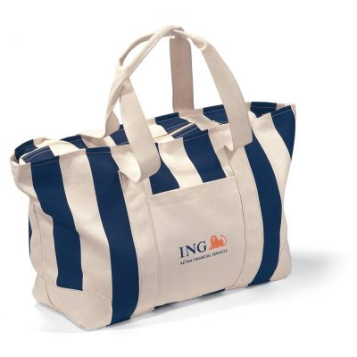Large Striped Canvas Tote - Navy Blue