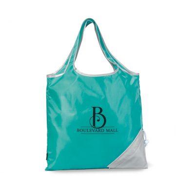 Latitudes Foldaway Shopper - Turquoise-Silver