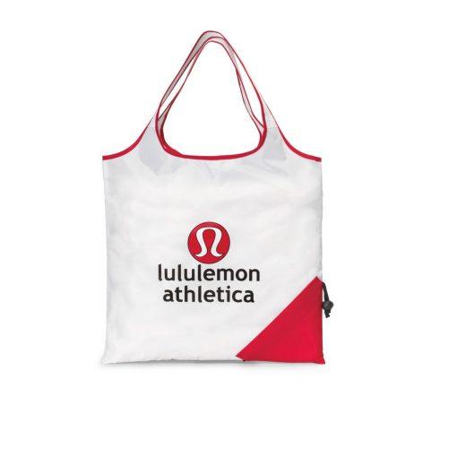 Latitudes Foldaway Shopper - White-Red