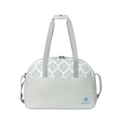 Madeline Quilted Weekender Bag - Light Grey Moroccan Pattern