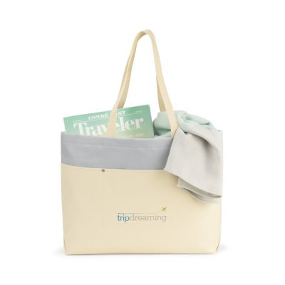 Santorini Wipeable Interior Tote - Natural-Glacial Grey