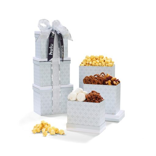 Sophisticated Gourmet Treats Tower - Light Grey Moroccan Pattern