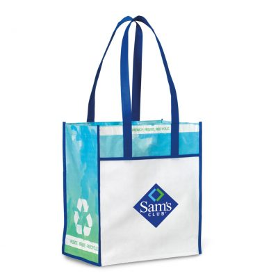 Vita Laminated Recycled Shopper - Royal Blue-Pattern
