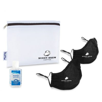 Reusable Face Mask and Hand Sanitizer Kit - Black