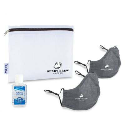 Reusable Face Mask and Hand Sanitizer Kit - Gunmetal Grey
