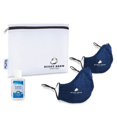 Reusable Face Masks (2 pack) and Hand Sanitizer Kit - Navy