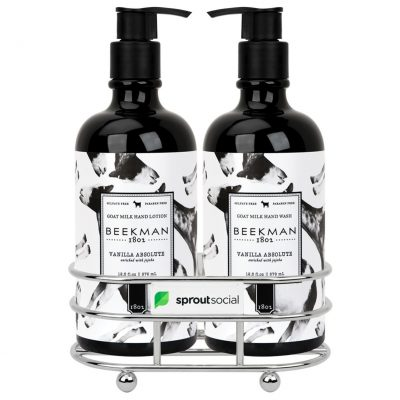 Beekman 1802® Vanilla Absolut Soap & Lotion Gift Set - Chrome Plated Metal - Beekman