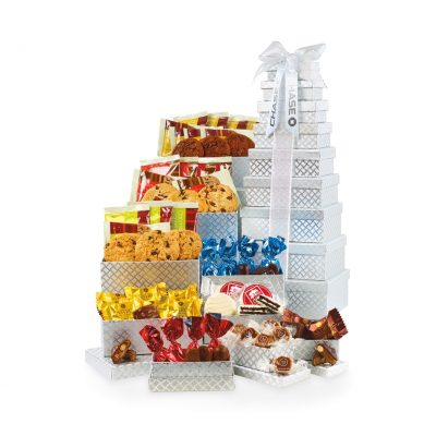 Capture Their Attention Snacks for All Tower - Silver Diamond Pattern