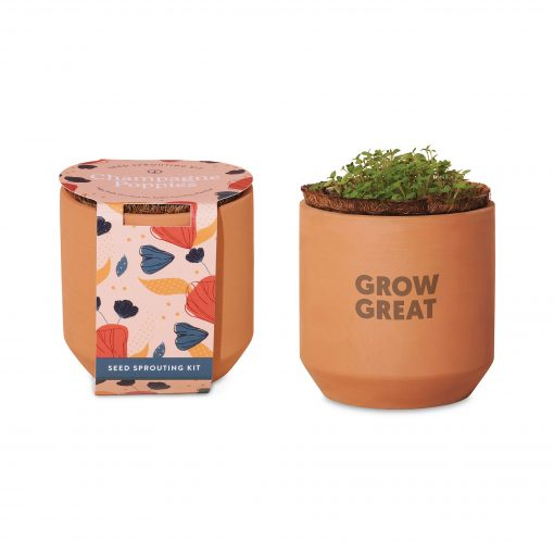 Modern Sprout® Tiny Terracotta Grow Kit Champagne Poppies - Terracotta