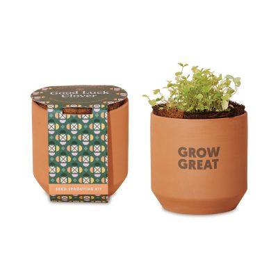 Modern Sprout® Tiny Terracotta Grow Kit Good Luck Clover - Terracotta