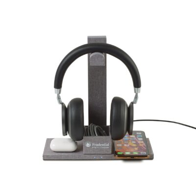 Truman Dual Wireless Charger and Headphone Stand - Medium Grey Heather